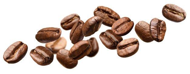 koffiebonen witte achtergrond